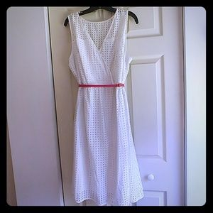 Lane Bryant, White cocktail dress with pink belt